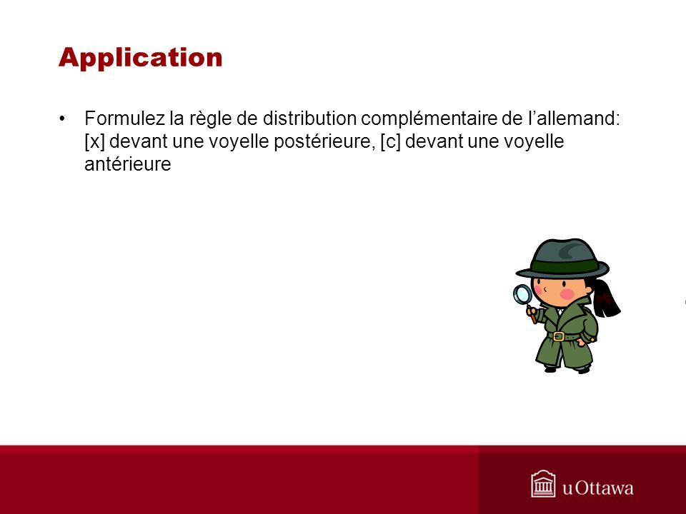Application Formulez la règle de distribution complémentaire de l'allemand: [x] devant une voyelle postérieure, [c] devant une voyelle antérieure.